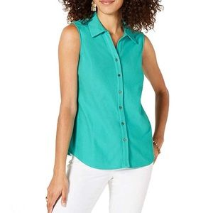 Charter Club Blouse 2P Cotton Green Sleeveless NEW